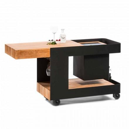 Design moderno de barra móvel sobre rodas com mesa de madeira e aço - Giancalliope