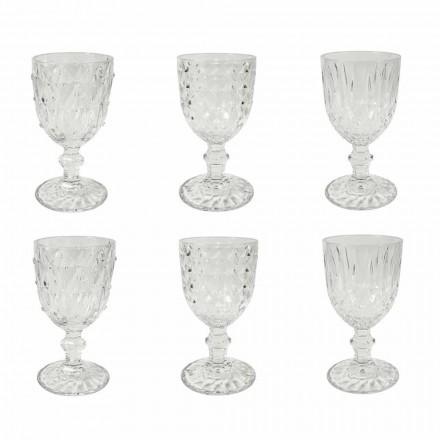 Taça em Vidro Transparente com Decoração Relevo 12 Peças - Angers