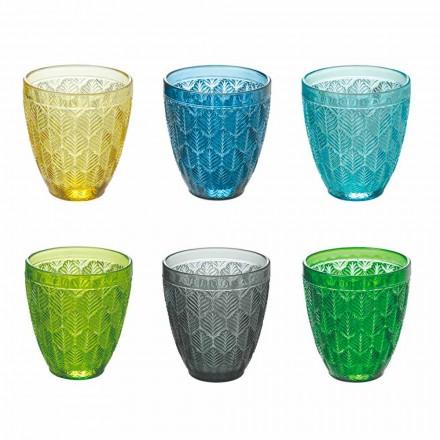 Copos de água de vidro colorido com decoração de folhas, 12 peças - Indonésia