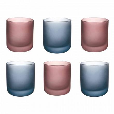 Copos de água coloridos em vidro fosco com efeito de gelo, 12 peças - Norvegio