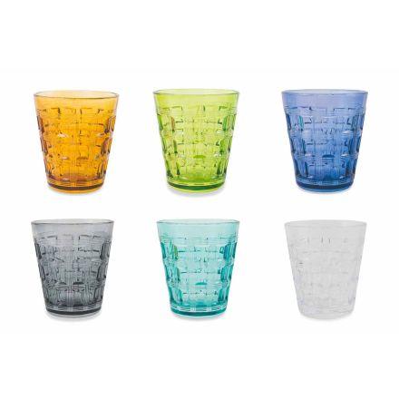 12 Serviço colorido Copos de água de vidro colorido - Entrelaçamento