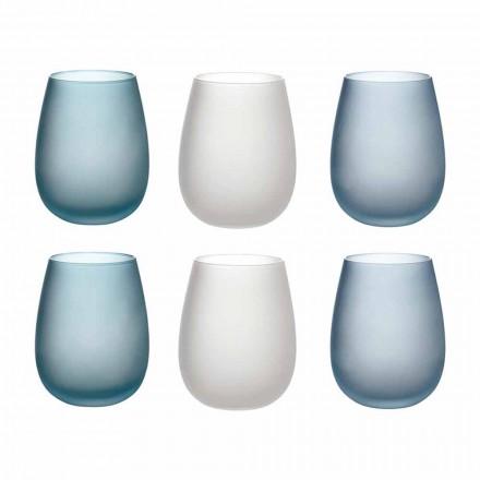 Copos de Água em Vidro Fosco Colorido Serviço Completo 12 Peças - Outono