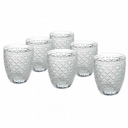 Copos de água de vidro transparente com decorações esculpidas 12 peças - Rocca