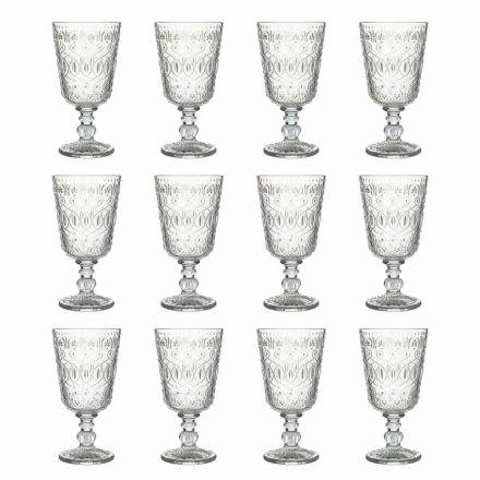 Taças de Vinho em Vidro Transparente Decorado 12 Taças Design - Maroccóbico