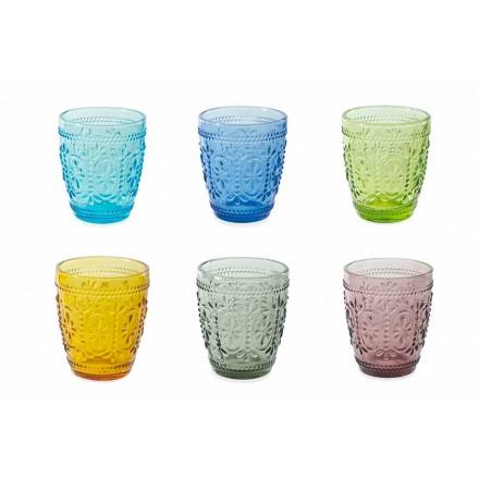 Conjunto de Água para Copos Decorados e Coloridos 12 Peças - Pastel-Palazzo