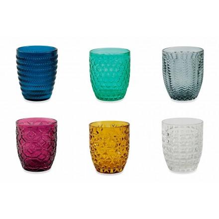 Copos decorados de vidro colorido moderno servindo água 6 peças - Mix