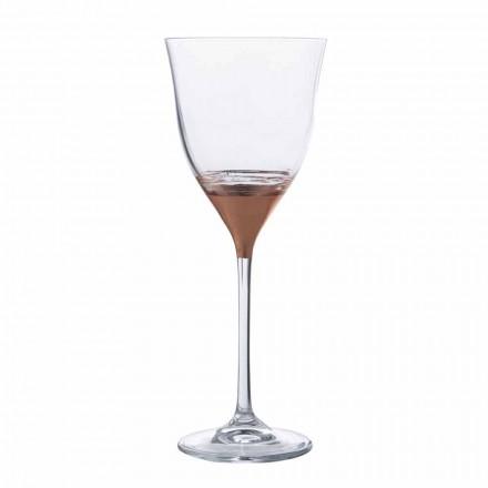 Cálice de Água Cristal com Decoração Bronze, Ouro ou Platina 12 Peças - Soffio