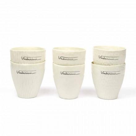 Óculos de porcelana branca de design luxuoso 6 peças exclusivas - Arcireale