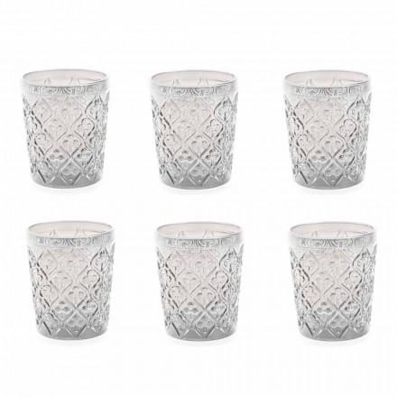 Copos de vidro transparente com decorações, serviço de água de 12 peças - Marrocos