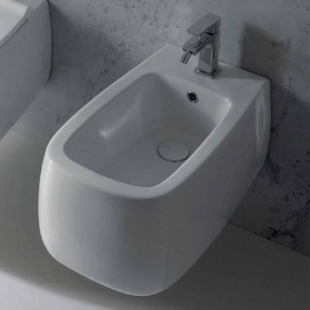Gaiola design bidé branco de cerâmica de parede, produzido na Itália