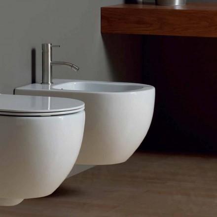Parede de cerâmica branca moderna pendurado bidé Star 50x35cm made in Italy