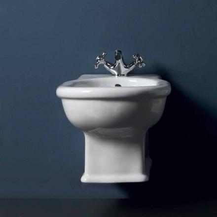 Bidê suspenso clássico em cerâmica branca estilo 54x36 cm, fabricado na Itália
