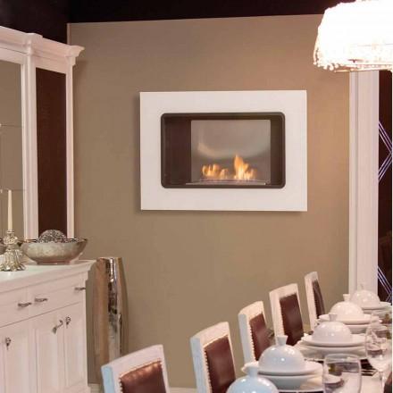 Lareiras de parede a bioetanol com design moderno, cor branca - Erica