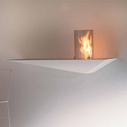 Biofireplace de Parede com Design Moderno em Aço Pintado e Vidro - Malcolm