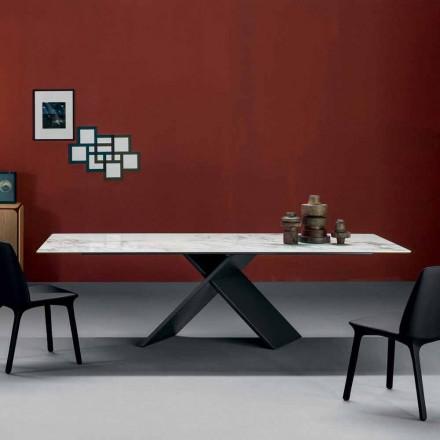 Mesa de jantar Bonaldo Axe com base de metal e tampo de cerâmica, fabricada na Itália