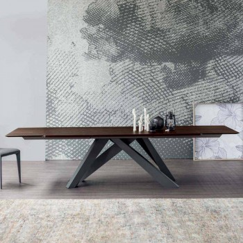 Mesa extensível Bonaldo Big Table feita de madeira design Itália
