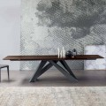 Bonaldo mesa grande estendendo mesa com tampo de madeira, feita na Itália