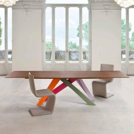 Bonaldo Mesa Grande mesa extensível com tampo em folheado de madeira, fabricada na Itália
