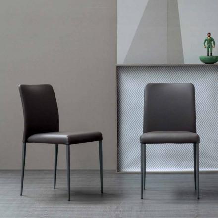 Cadeira design Bonaldo Deli com assento estofado em couro made in Italy