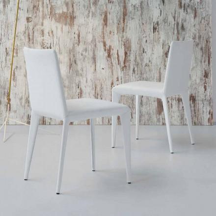 Cadeira estofada de design Bonaldo Filly em couro branco feita na Itália
