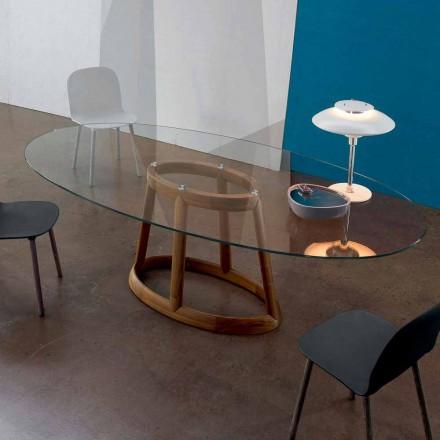 Mesa de cristal oval Bonaldo Greeny com base de madeira, fabricada na Itália
