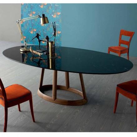 Mesa de jantar oval Bonaldo Greeny, tampo em mármore Marquinia, fabricada na Itália