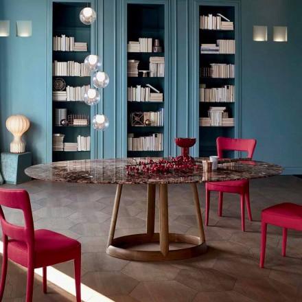 Mesa redonda Bonaldo Greeny com tampo de mármore Emperador, fabricado na Itália