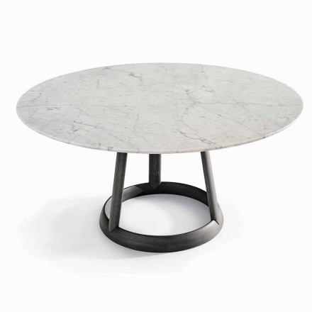 Mesa redonda Bonaldo Greeny com tampo de mármore Carrara, fabricada na Itália