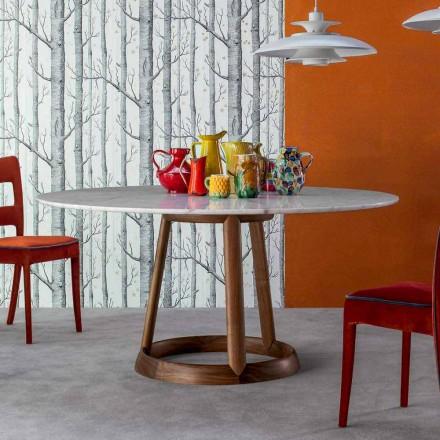 Mesa redonda Bonaldo Greeny com tampo de mármore Calacatta, fabricada na Itália