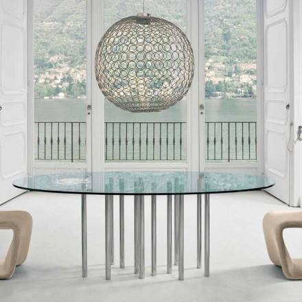 Mesa redonda Bonaldo Mille, em cristal e aço cromado, fabricada na Itália