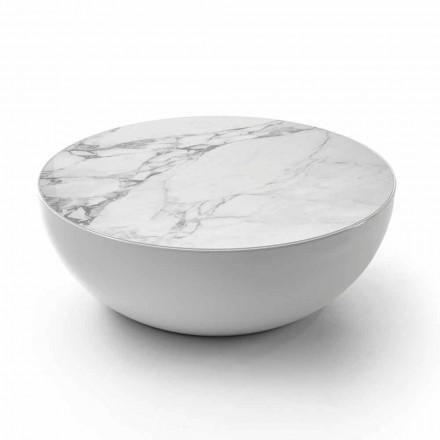 Mesa de centro Bonaldo Planet feita de cerâmica Calacatta, design moderno