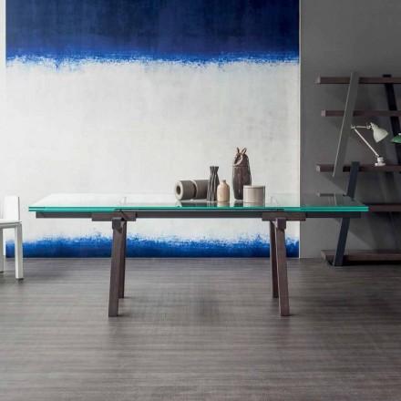 Bonaldo Tracks estendendo mesa, top de cristal extra-claro feito na Itália