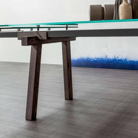 Bonaldo Tracks mesa de jantar de cristal extensível feita na Itália
