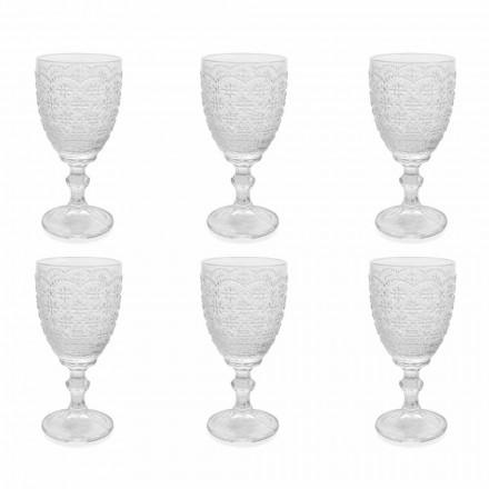 Taça em Vidro Transparente com Decoração em Relevo, 12 Peças - Trapani