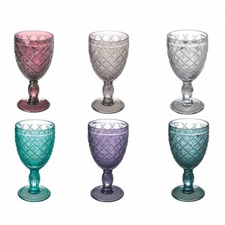 Taça de Vinho ou Água em Vidro Colorido ou Transparente com Decoração, 12 Peças - Rocca