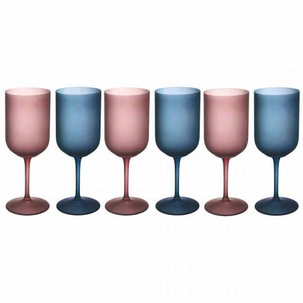 Taças de vinho coloridas em vidro fosco com efeito de gelo 12 peças - Norvegio