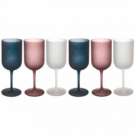 Copos de vinho de vidro fosco com efeito cascalho colorido, 12 peças - outono
