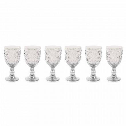 Copos de Vinho de Vidro Transparente com Decoração Arabesca 12 Peças - Marrocos
