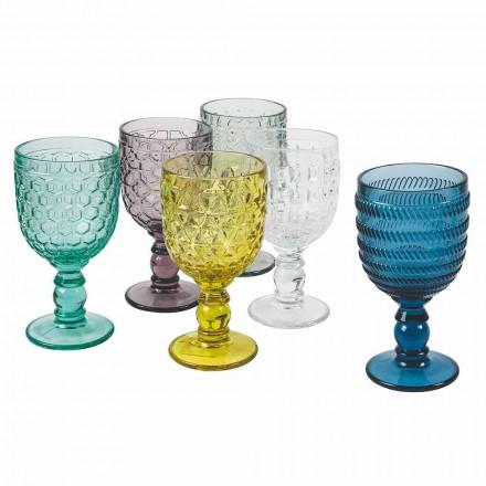 Taças decoradas com vidro colorido Serviço de água ou vinho 12 peças - mistura