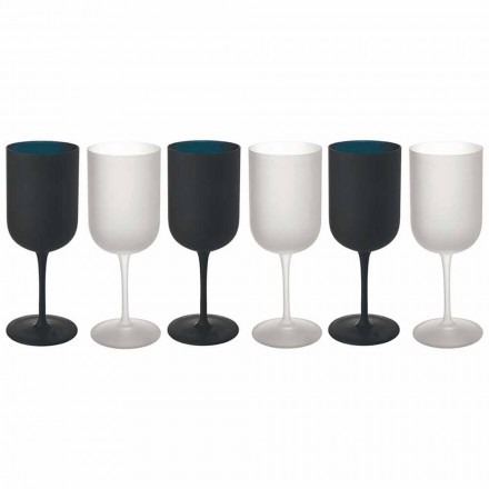 Taças em Vidro Fosco Branco e Preto Serviço de Vinho 12 Peças - Norvegiomasai