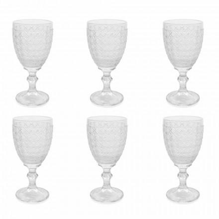 Taças de vinho em vidro transparente e decorações em relevo, 12 peças - aperi