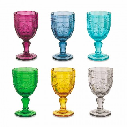 Taças de Vinho Coloridas em Vidro com Decoração Arabescato, Serviço 12 Peças - Parafuso