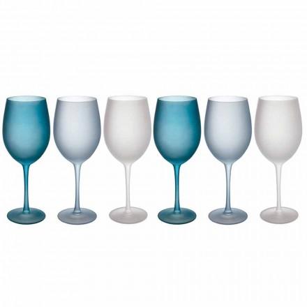 Taças de vinho coloridas em vidro fosco com efeito de gelo, 12 peças - outono