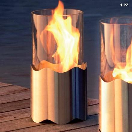Lareira de bioetanol de mesa feita de aço inoxidável e vidro Leon