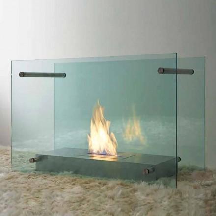 Lareira a bioetanol de piso em design de vidro e aço para interiores - Edison