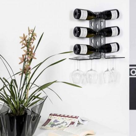 Parede moderna fixada vinho rack Luna, acabamento fumé, feito na Itália