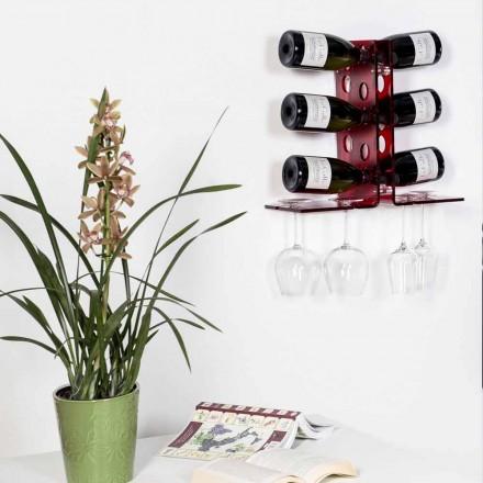 Vinho de parede com um design moderno Luna, acabamento vermelho, feito na Itália