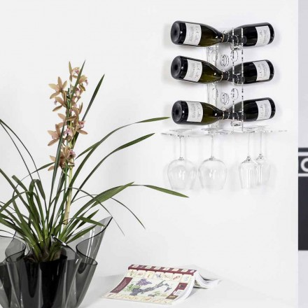 Parede moderna fixo vinho rack Luna, acabamento transparente, feito na Itália