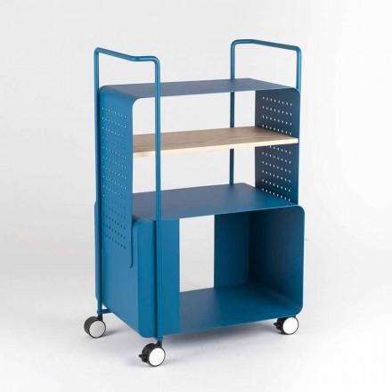 Carrinho Design em Aço com Tampo em Cinza Made in Italy - Murella