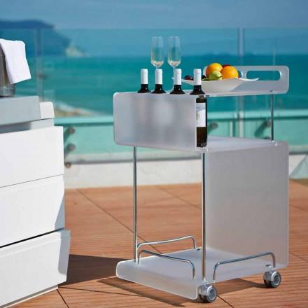 Carrinho de bar design moderno Paco, feito de metacrilato, 8 mm de espessura